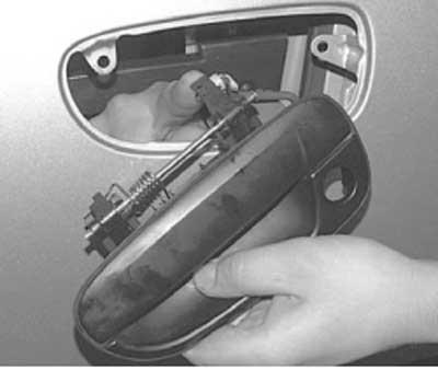Как снять наружную ручку передней двери хендай акцент